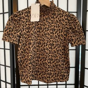 NWT Zara Leopard Short Sleeve Top Size S